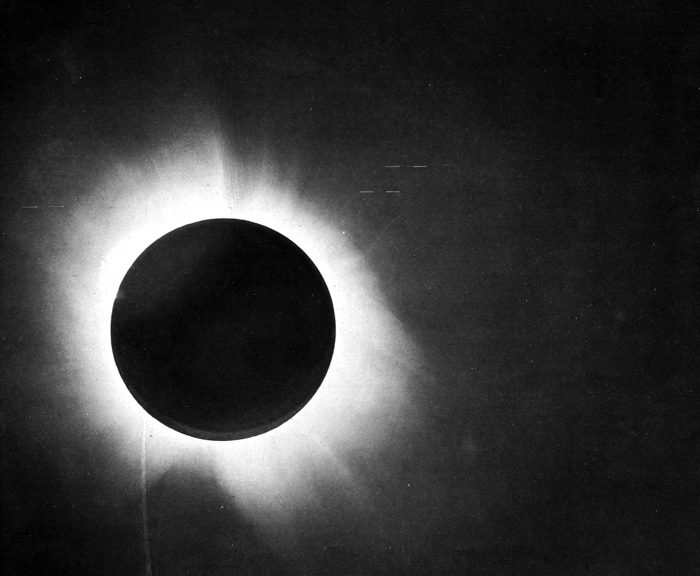 One of the 1919 total eclipse photographic plates from Dyson, Eddington and Davidson, 1920