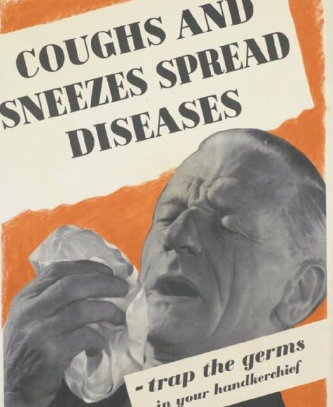 old public health poster on using a hankerchief for sneezing