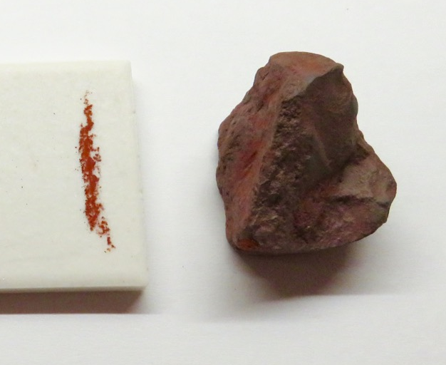 ideochromatism in hematite, whose streak is the same color as the mineral as a rock