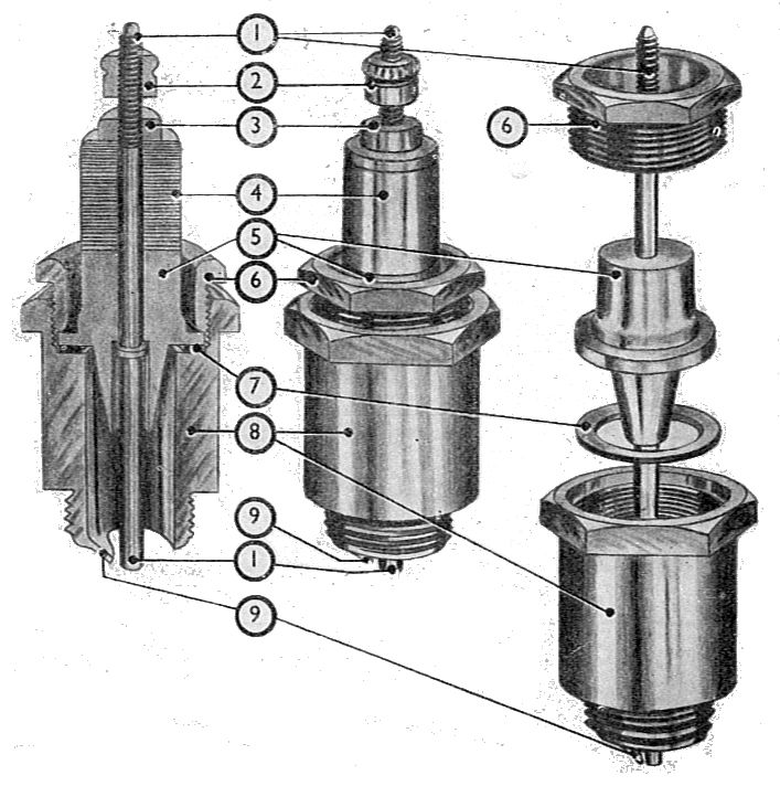 Textbook figure of a spark plug showing the placement of mica insulation