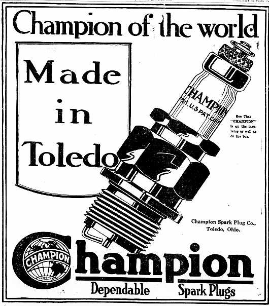 Champion Spark Plug Ad from 1919