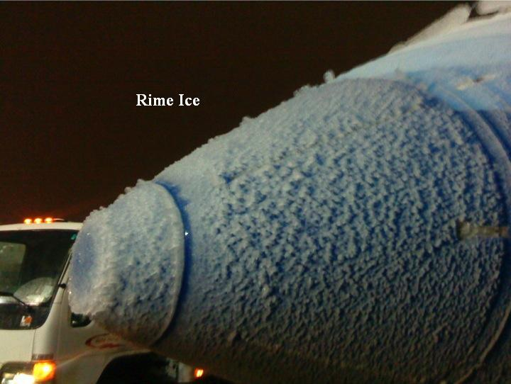 Rime Ice on the nose of an aircraft